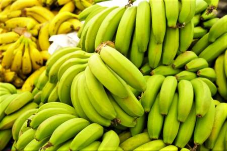 Bild på gröna bananer